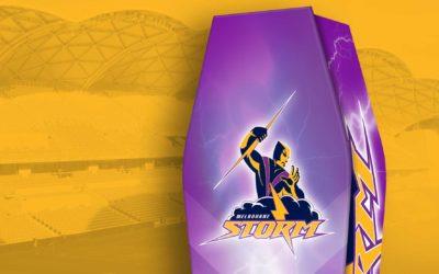 "The design brief: ""Create a unique coffin for Melbourne Storm's biggest fan"""